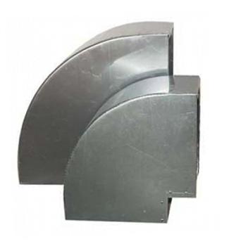 Bocht 90º Aluminium Vierkant 200x200 mm