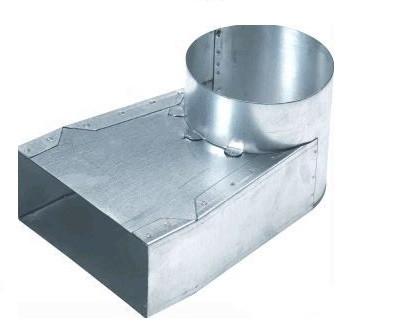 Lepelhoek enkel Links 220mm x 80mm aansluiting Ø150mm (Rechthoekig)