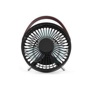 Design ventilator met USB-aansluiting - zwart met handgreep (lederaspect)