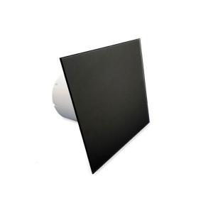 Voorfront designventilator/designrooster, Glas Vlak mat zwart Ø 125mm