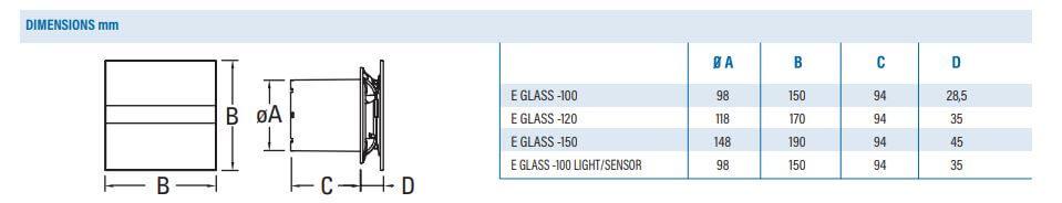 Afmetingen badkamerventilator glas design