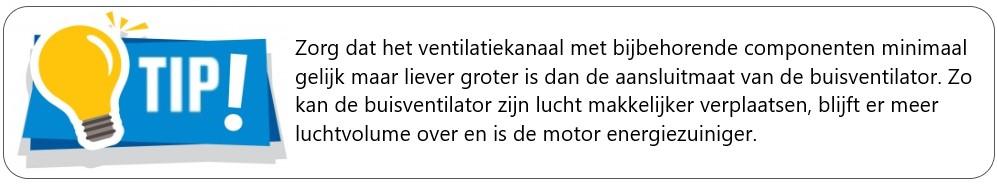 Tip ventilatiekanaal voor Buisventilator