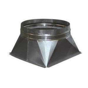 verloop om buisventilator op rechthoekig ventilatiekanaal aan te sluiten