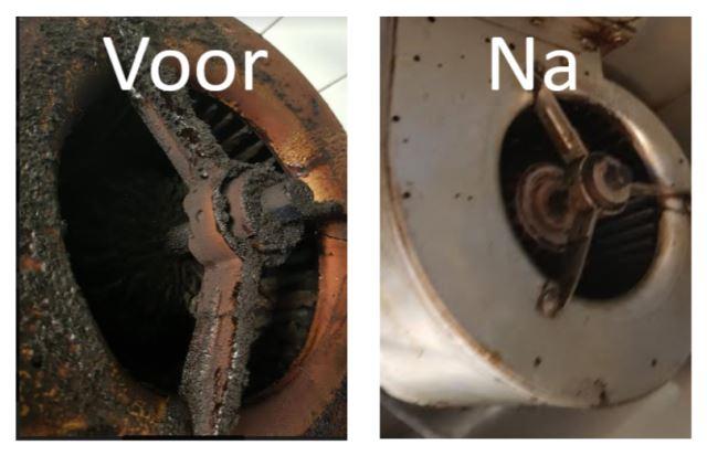 Voor en na reiniging afzuigmotor